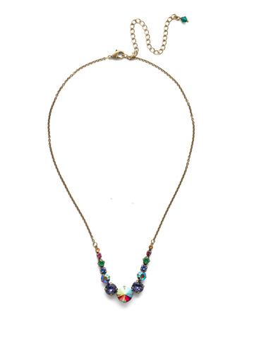 Delicate Round Crystal Necklace in Antique Gold-tone Game of Jewel Tones