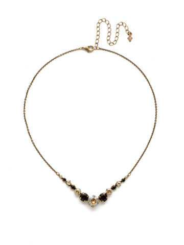 Delicate Round Crystal Necklace in Antique Gold-tone Mighty Maroon