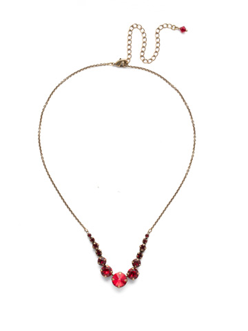 Delicate Round Crystal Necklace in Antique Gold-tone Sansa Red