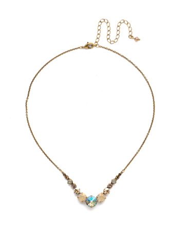 Delicate Round Crystal Necklace in Antique Gold-tone Sandstone