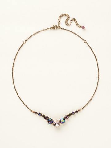Delicate Round Crystal Necklace in Antique Gold-tone Sundance