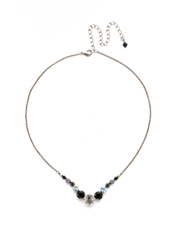 Delicate Round Crystal Necklace in Antique Silver-tone Black Tie