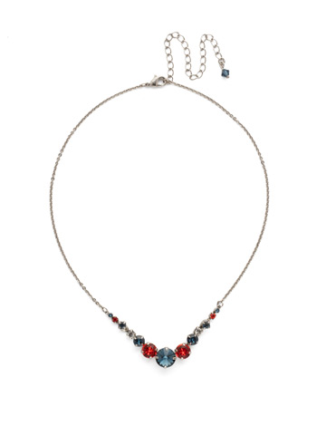 Delicate Round Crystal Necklace in Antique Silver-tone Battle Blue