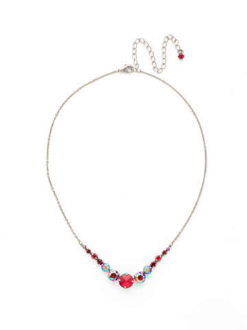 Delicate Round Crystal Necklace in Antique Silver-tone Cranberry