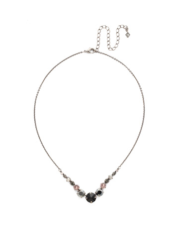 Delicate Round Crystal Necklace in Antique Silver-tone Crystal Noir