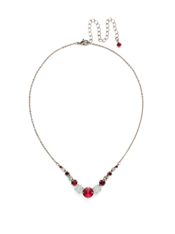 Delicate Round Crystal Necklace in Antique Silver-tone Crimson Pride