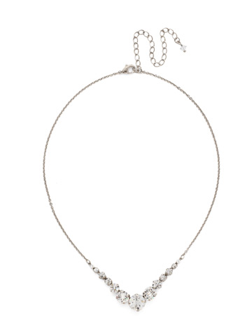 Delicate Round Tennis Necklace in Antique Silver-tone Crystal