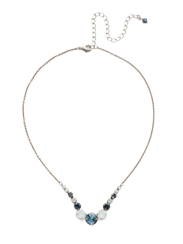 Delicate Round Crystal Necklace in Antique Silver-tone Glory Blue