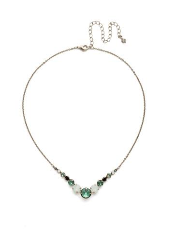 Delicate Round Crystal Necklace in Antique Silver-tone Game Day Green