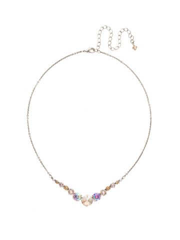 Delicate Round Crystal Necklace in Antique Silver-tone Mirage