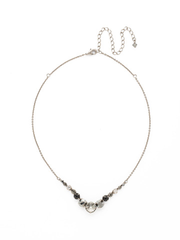 Delicate Round Crystal Necklace in Antique Silver-tone Midnight Moon