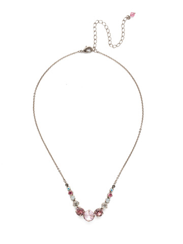 Delicate Round Crystal Necklace in Antique Silver-tone Misty Pink