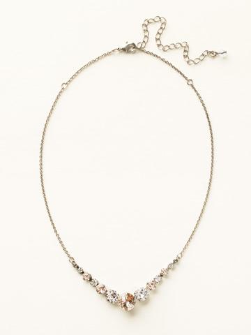 Delicate Round Crystal Necklace in Antique Silver-tone Snow Bunny