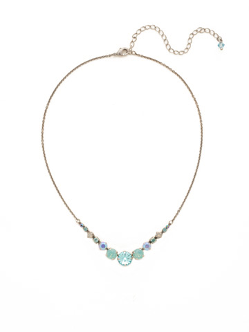 Delicate Round Crystal Necklace in Antique Silver-tone Teal Textile
