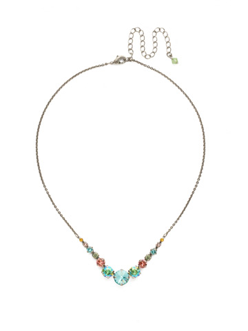 Delicate Round Crystal Necklace in Antique Silver-tone Vivid Horizons