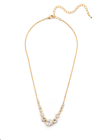 Delicate Round Crystal Necklace in Bright Gold-tone Crystal