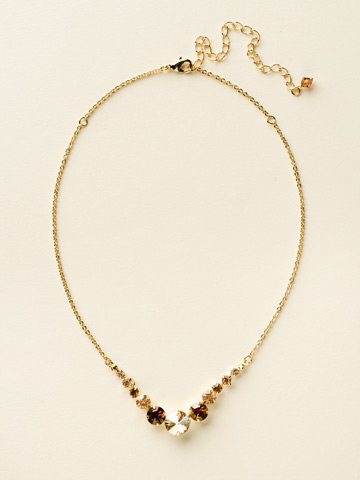 Delicate Round Crystal Necklace in Bright Gold-tone Gold Leaf