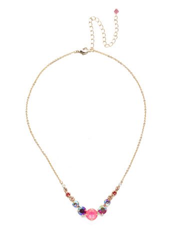 Delicate Round Crystal Necklace in Bright Gold-tone Island Sun