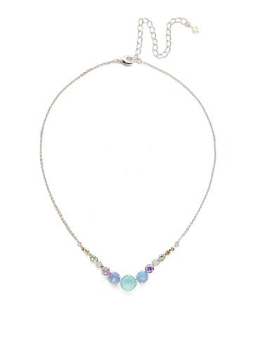 Delicate Round Crystal Necklace in Rhodium Seersucker