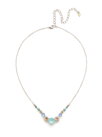 Delicate Round Crystal Necklace in Rhodium Tahitian Treat