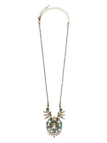 Dazzling Deco Crystal Statement Pendant Necklace in Antique Gold-tone Afterglow