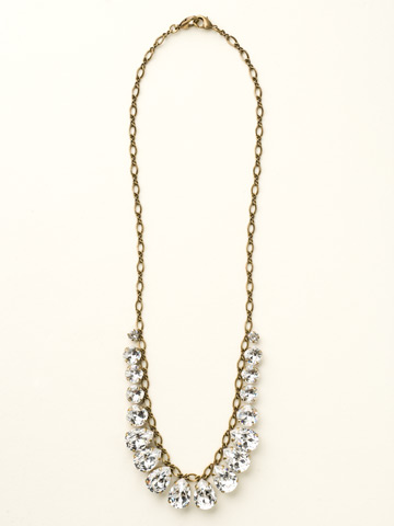 Peared to Perfection Necklace in Antique Gold-tone Crystal Clear