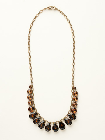 Peared to Perfection Necklace in Antique Gold-tone Smoke Topaz