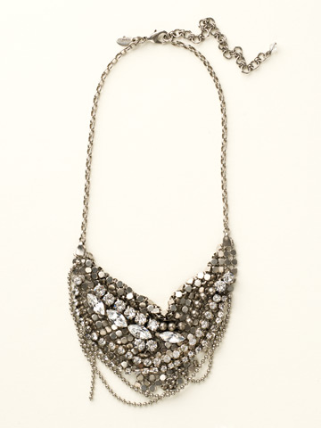 Mini Meant to Mesh Bib Necklace in Antique Silver-tone Crystal Clear