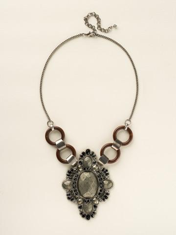 Semi-Precious Medallion Statemenet Bib in Antique Silver-tone Black and White