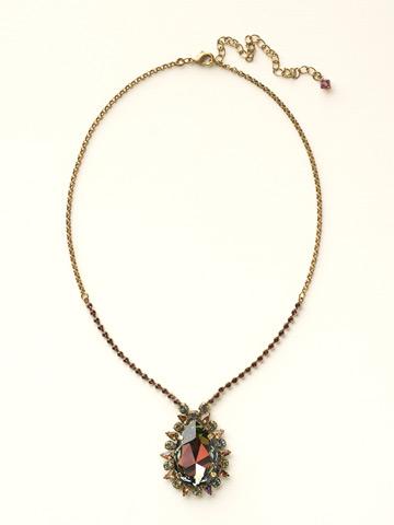 Teardrop Crystal Pendant Necklace in Antique Gold-tone Volcano