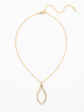 Openwork Crystal Pendant Necklace in Bright Gold-tone Crystal