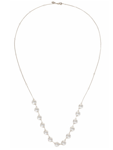 Crystal Rain Long Strand Necklace in Antique Silver-tone Crystal