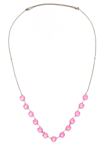 Crystal Rain Long Strand Necklace in Antique Silver-tone Pink Mutiny