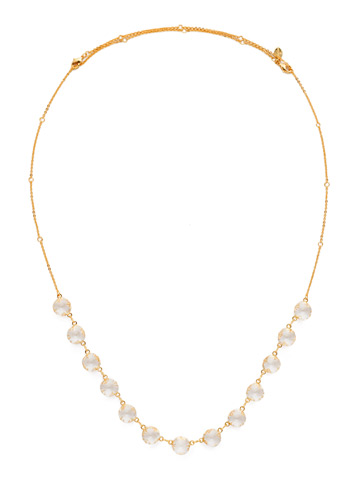 Crystal Rain Long Strand Necklace in Bright Gold-tone Crystal
