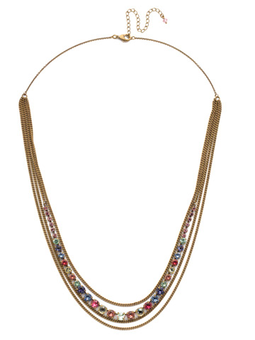 Layer It On Multi-Strand Necklace in Antique Gold-tone Bohemian Bright