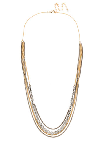 Layer It On Multi-Strand Necklace in Mixed Metal Crystal