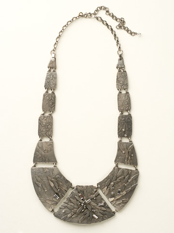 Embellished Metal Shield Necklace in Antique Silver-tone Crystal Clear