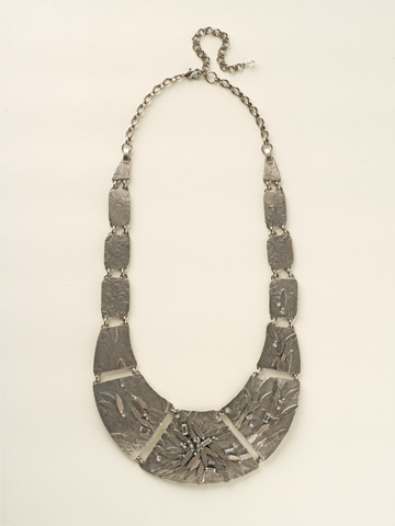 Embellished Metal Shield Necklace in Antique Silver-tone Crystal