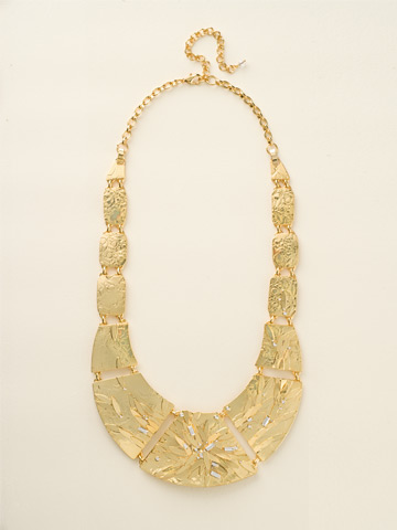 Embellished Metal Shield Necklace in Bright Gold-tone Crystal