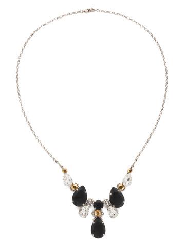 Teardrop Triangle Bib Necklace in Antique Silver-tone Heavy Metal