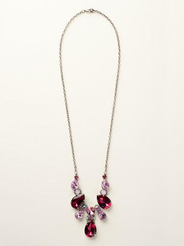Teardrop Triangle Bib Necklace in Antique Silver-tone Sweet Heart