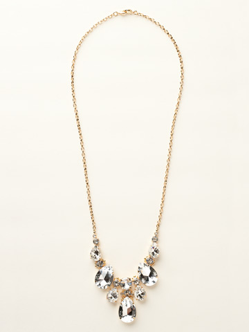 Teardrop Triangle Bib Necklace in Bright Gold-tone Crystal Clear