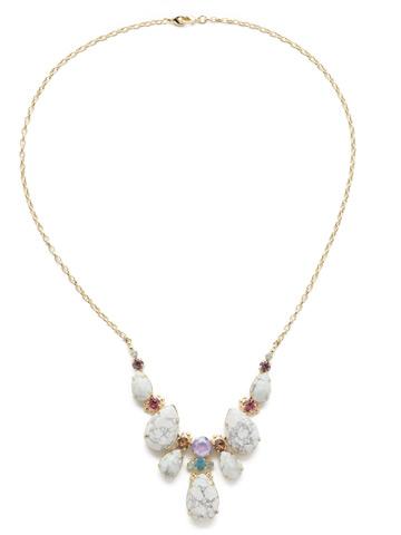 Teardrop Triangle Bib Necklace in Bright Gold-tone Precious Bright