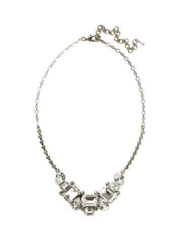 Emerald and Pear-Cut Crystal Collar Necklace in Antique Silver-tone Crystal