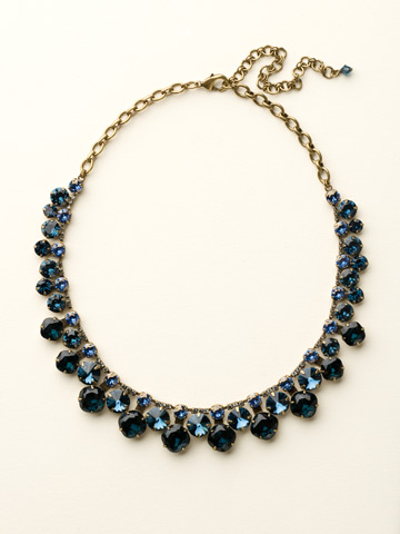 Cushion Cut Crystal Statement Collar Necklace in Antique Gold-tone Dress Blues