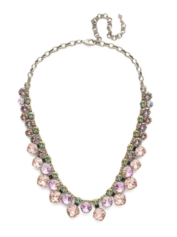 Cushion Cut Crystal Statement Collar Necklace in Antique Silver-tone Lilac Pastel