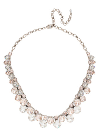 Cushion Cut Crystal Statement Collar Necklace in Antique Silver-tone Soft Petal