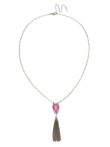 Tassel Long Strand Pendant Necklace in Antique Silver-tone Pink Mutiny