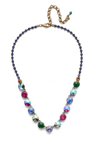 Repeating Rivoli Classic Line Necklace in Antique Gold-tone Game of Jewel Tones