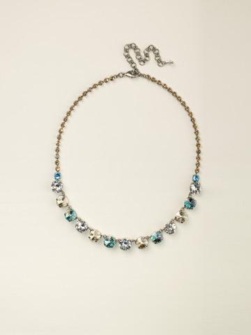 Repeating Rivoli Classic Line Necklace in Antique Silver-tone Eggshell